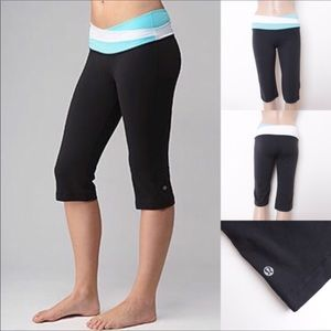 Lululemon Astro Crop Pant 6 Teal/Blk/White Yoga